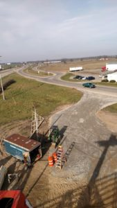 A view of W. Randall Street and I-96 in Coopersville from atop our new building during the early stages of construction.