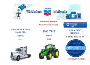 Chevron, Grand Raids, Lubes, Lubricants, West Michigan, Farming, Tractors, Agriculture, Alt Oil Co, motor oil, grease, THF
